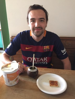 Chris enjoying a typical breakfast